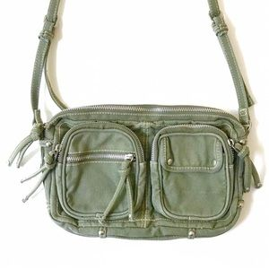 Forever21 Army green Zipper pocket canvas purse